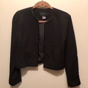 Ann Taylor Black Cropped Jacket/Blazer Medium